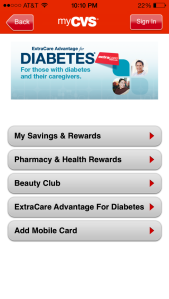 CVS mobile app ExtraCare card