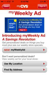 CVS mobile app personalized ads